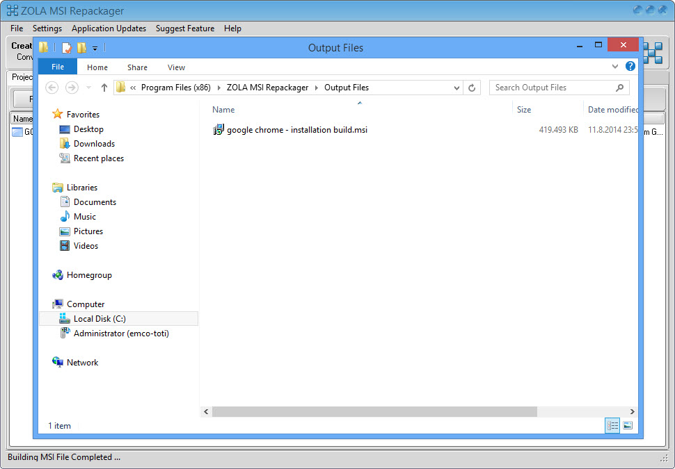 Repackage google chrome into silent msi package for install