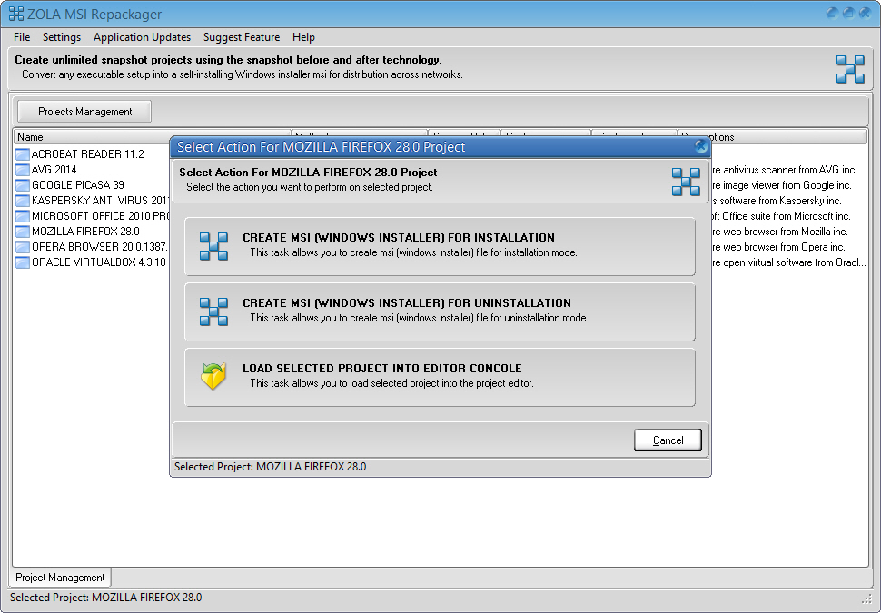 ZOLA Repackage existing exe to msi package for distribution